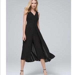 WHBM Sleeveless V-Neck Overlay Jumpsuit